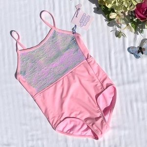 Flip Sequin Soft Pink One Piece Swimsuit 7/8